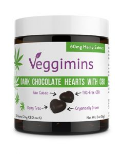 Veggimins Dark Chocolate Hearts with CBD - THC-FREE - 60 mg - 2 oz
